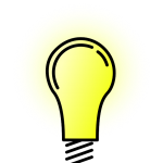 cartoon drawing of a lit lightbulb