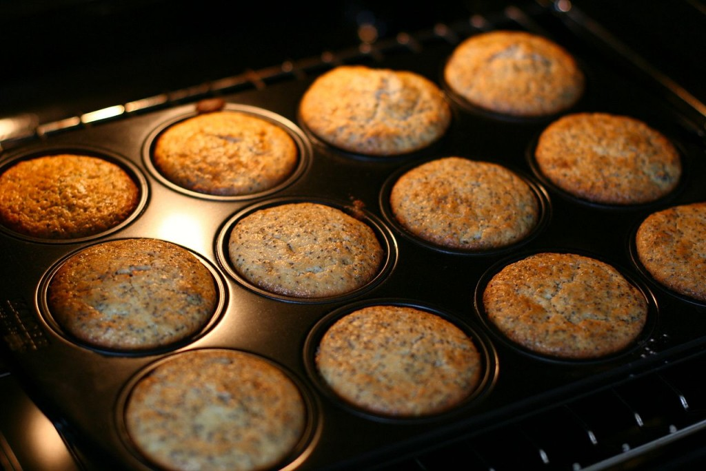 muffins baking in the oven