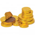 pile of chocolate coins