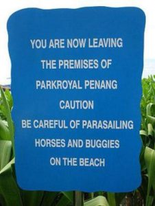 sign requesting beach users to take care, warning of parasailing horses